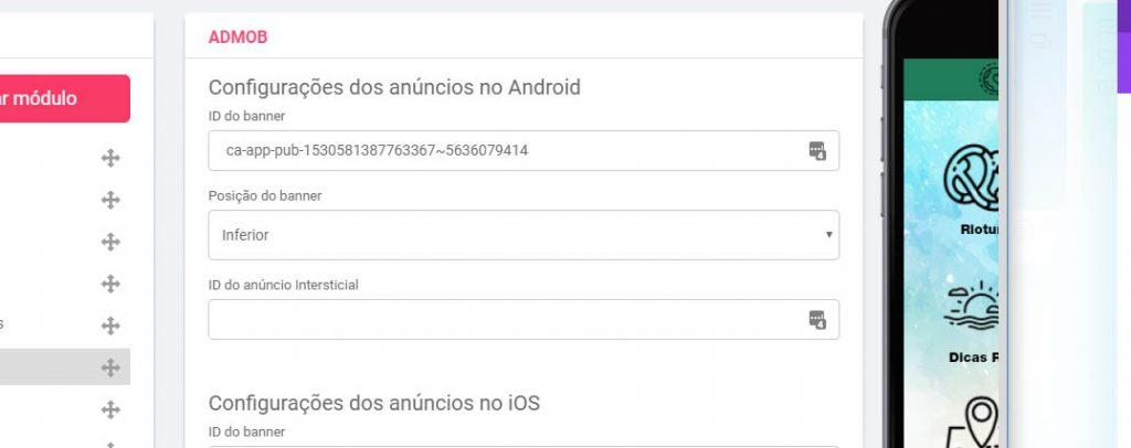 Código Admob aplicativo
