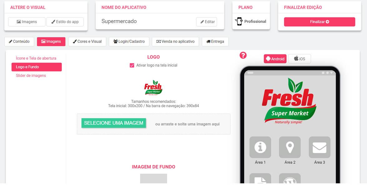 aplicativo personalizacao