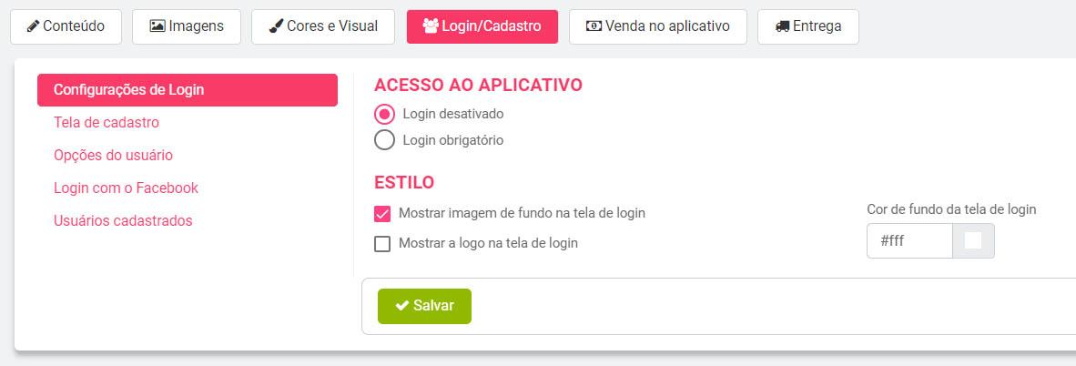 login aplicativo